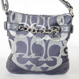 Coach Handbag Blue w/Leather Trim